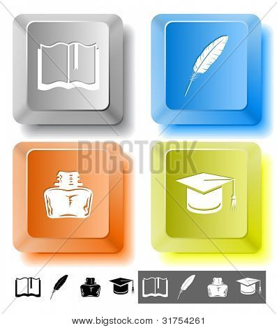 Education icon set. Graduation cap, book, inkstand, feather. Computer keys. Raster illustration.