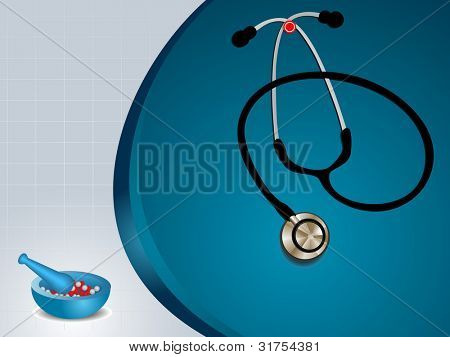 vector illustration of graph medical background with stethoscope,mortar and pestle in blue color.EPS 10.