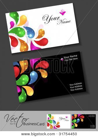 Professional business card set, template or visiting card set. Artistic, abstract colorful floral design, front or back for presentation, EPS 10 Vector illustration.