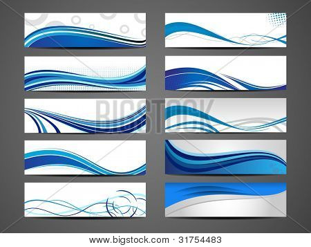Vector illustration of banners or website headers with abstract wave forms in blue color. EPS 10.