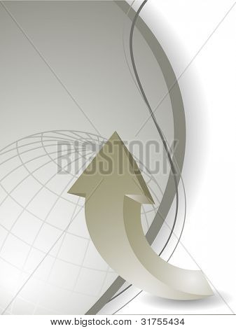 Professional corporate background or business template for financial presentations showing globe and 3D arrow.