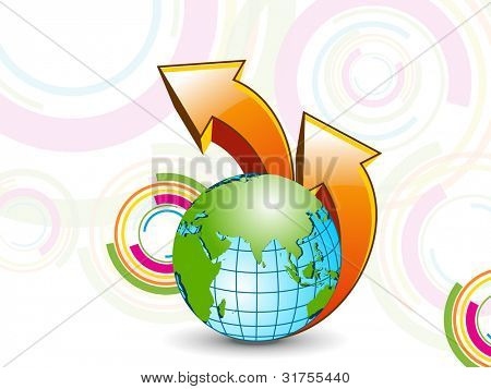 Professional corporate or business template for financial presentations showing globe and 3D arrow on colorful abstract background.