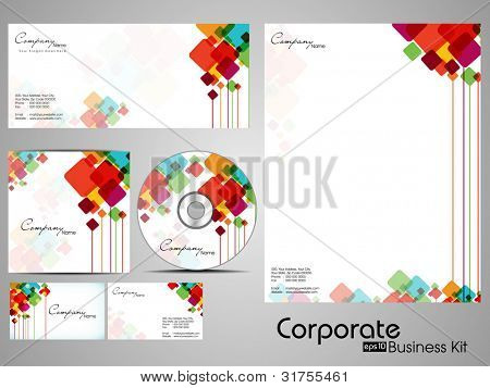 Professional Corporate Identity kit or business kit with artistic, abstract colorful design  for your business includes CD Cover, Business Card, Envelope and Letter Head Designs in EPS 10 format.
