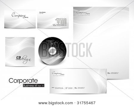 Professional Corporate Identity kit or business kit with artistic, abstract wave pattern in grey  color for your business includes CD Cover,Envelope, Business Card and Letter Head Designs in EPS 10.