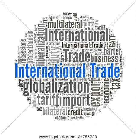 Comércio internacional de colagem de palavra