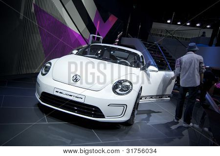 GENEVA SWITZERLAND - MARCH 12: The Volkswagen Stand displaying a overhead rear view of their new Beetle Roadster Concept, at the Geneva Motorshow on March 12th, 2012 in Geneva, Switzerland.