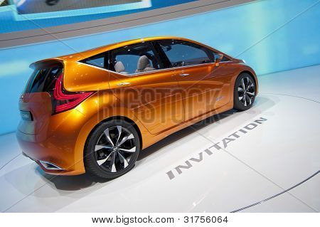 GENEVA SWITZERLAND - MARCH 12: The Nissan Stand displaying rear 3/4 view of their new