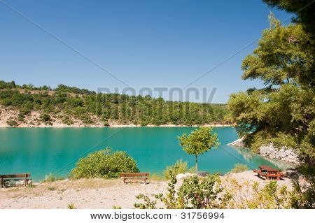 Landscape with lac de Saint Croix in the French Provence