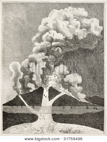 Volcano erupting old cutaway view. Created by Tilly, published on Magasin Pittoresque, Paris, 1882