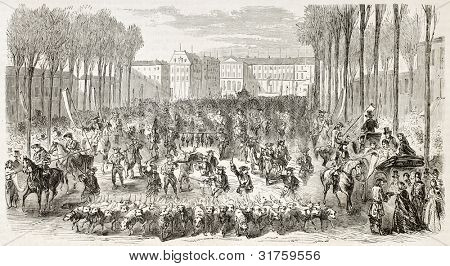 Charity ride in Versailles for cotton workers benefit, old illustration. Created by Gaildrau, published on L'Illustration, Journal Universel, Paris, 1863