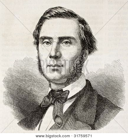 Emile Ollivier old engraved portrait (French statesman). Created by Chenu, published on L'Illustration, Journal Universel, Paris, 1863