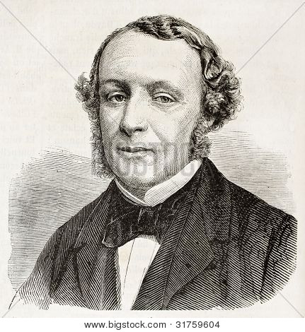 Ernest Picard old engraved portrait (French politician). Created by Chenu, published on L'Illustration, Journal Universel, Paris, 1863