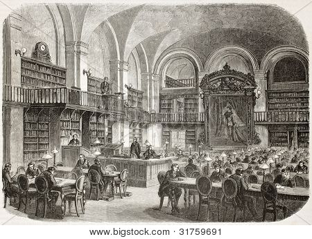 Saint-Petersburg imperial library, reading hall, old illustration. Created by Gaildrau, published on L'illustration, Journal Universel, Paris, 1863