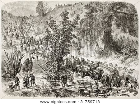 French intervention in Mexico: Military convoy on the road to Veracruz. Created by Blanchard and Godefroy-Durand, published on L'Illustration, Journal Universel, Paris, 1863