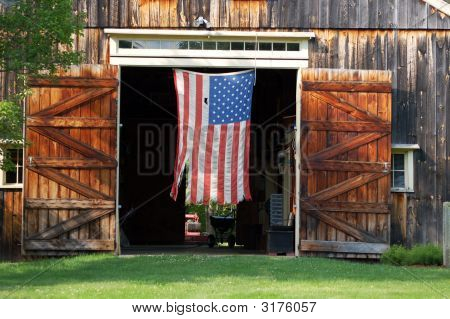 Flag In Barn Door
