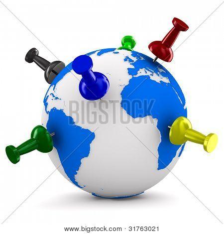 multicolor thumbtacks on globe. Isolated 3D image