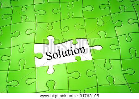 ein Bild einer grünen Jigsaw Puzzle-Lösung