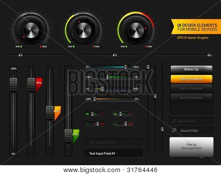 User Interface Design Elements | EPS10 Vector Graphic | Layers Organizes and Named | The Detailed Noise Texture is Easily Removable if it's Render Heavy