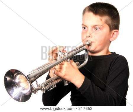 Kid Playing Trumpet