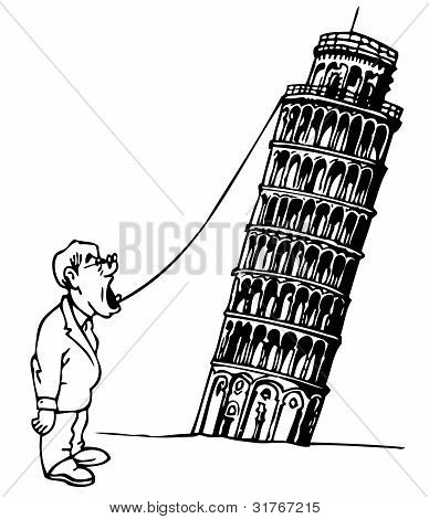 Man and the Leaning Tower of Pisa