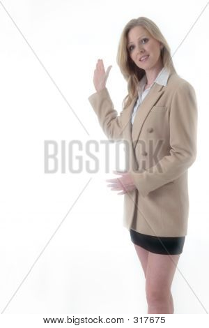 Business Woman With Hand Up