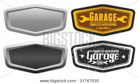 Vector automotive, motorcycle badge. Signs and labels.