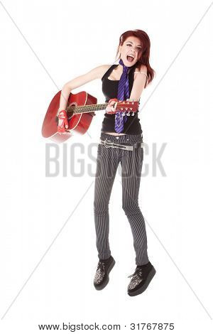 nonconformist girl jumps with a guitar