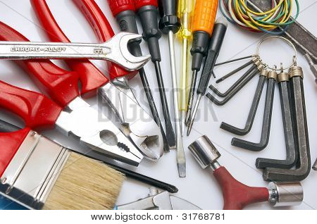 A set of tools - isolated on white