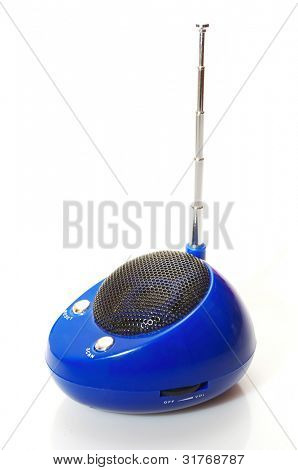 A mobile FM radio isolated on a white background