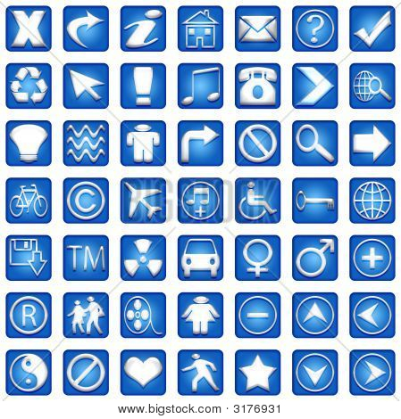 Blue Square Icons Set