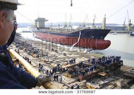 Ship before launching in the shipyard on Danube