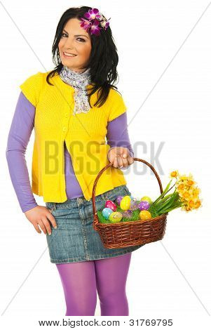 Beauty Spring Woman With Easter Basket