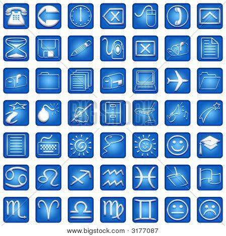 Blue Square Icons