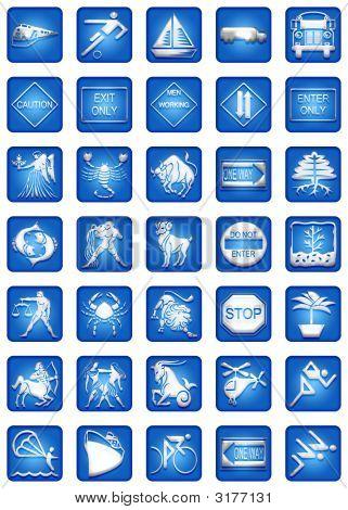 Blue Square Icon Set Part