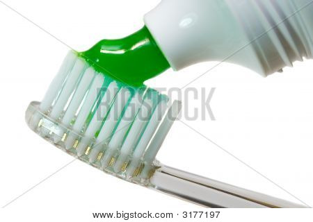 Close-Up Tooth-Brush With Tooth-Paste