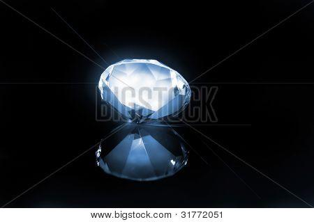 big diamond at blue lighting