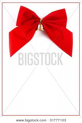 red ribbon and bow with ample copy space