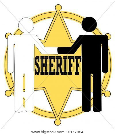 Sheriff Badge Black And White Handshake
