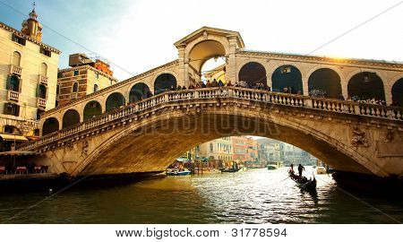 Detail of Rialto bridge in Venice