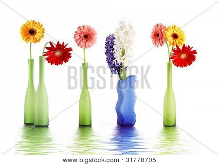 Colorful spring flowers in colorful vases