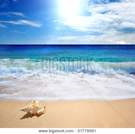 Sea landscape - sea, golden beach, the blue sky and white clouds
