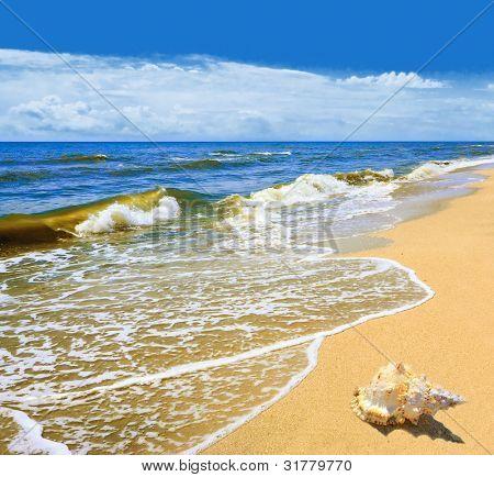 Paisaje de Mar - Mar, Playa Dorada, el cielo azul y nubes blancas