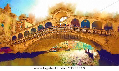 Detail of Rialto bridge in Venice. Illustration.
