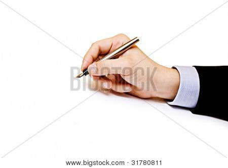 Business man hand holding pen isolated on white background