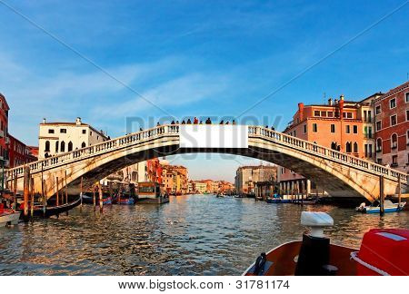 Romantic canal in center of Venice. White space for your advertise.
