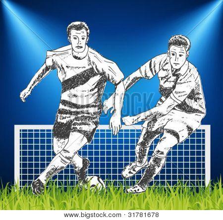 futbolistas - ilustración dibujados a mano