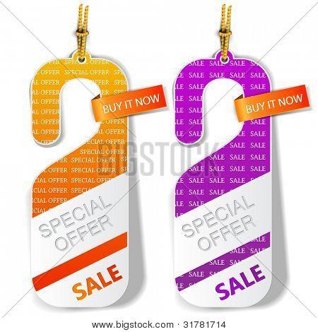 "Door tags, labels ""Special offer"". Vector"