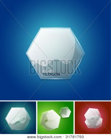 Abstract glass hexagon