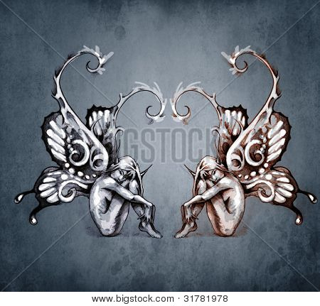Duality concept tattoo, two  fairy on blue vintage background