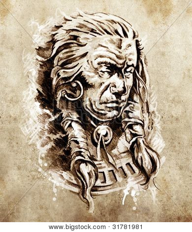 Sketch of tattoo art, Portrait of american indian chief in national dress